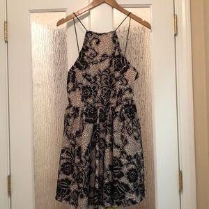 BEBE Halter Top A-Line Mini Dress